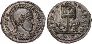 Ticinum: Série VIRTVS-EXERCIT et les bustes casqués de Constantin Ier   90528