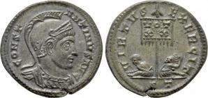 Ticinum: Série VIRTVS-EXERCIT et les bustes casqués de Constantin Ier   91332