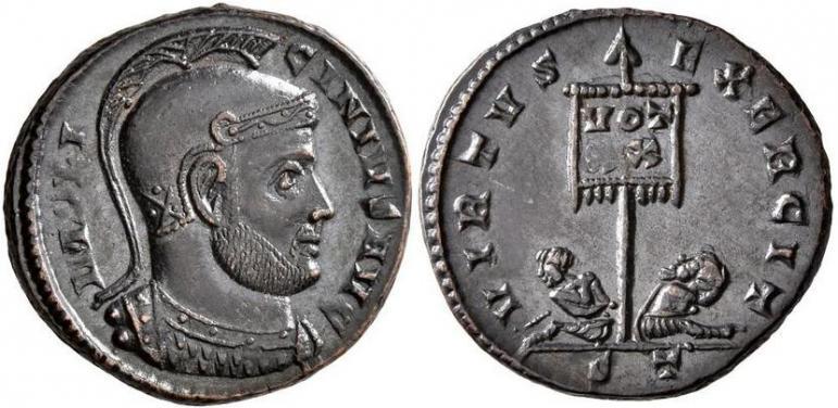 Ticinum: Série VIRTVS-EXERCIT et les bustes casqués de Constantin Ier   84730